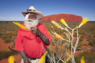 Traditional owner Reggie Uluru, 72, after eye surgery at Alice Springs Hospital. Photo: Barry Skipsey